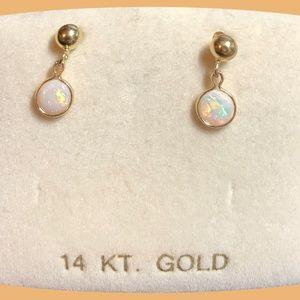 14 karat gold 4mm ball studs with 4mm opal Drops